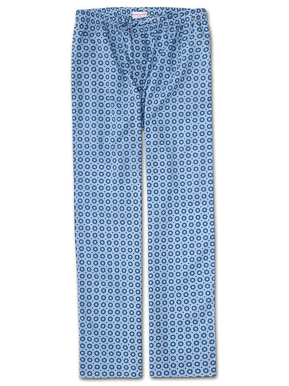DEREK ROSE Men's Lounge Trousers Ledbury 34 Cotton Batiste Blue