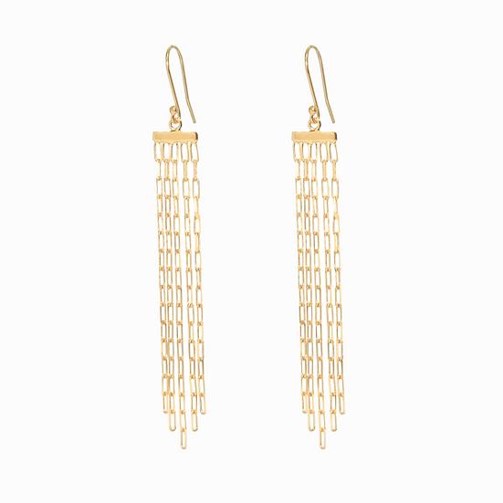 DINARI JEWELS Gold Multi Chain Earrings