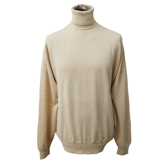 TCG LONDON Men's Loose Fit Roll Neck Cashmere Jumper - Natural - XXL