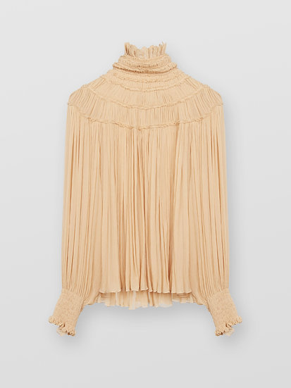 CHLOÉ High Neck Smoked Silk Blouse