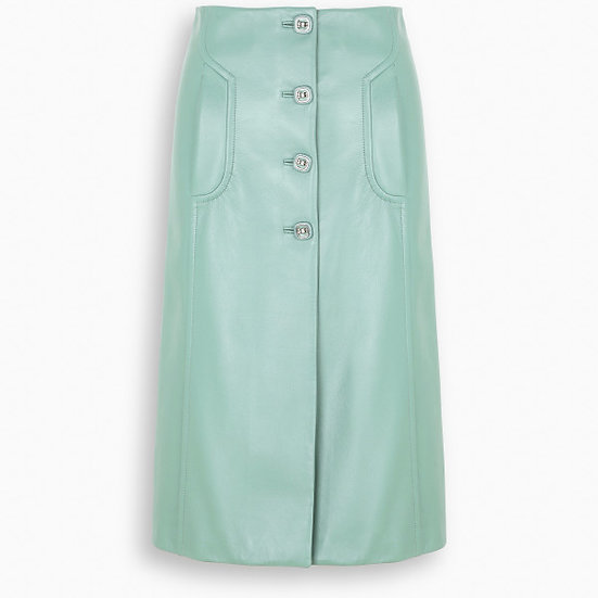 PRADA Anise Leather Midi Skirt