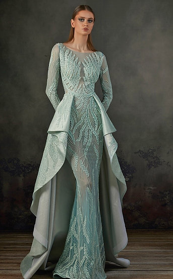 MNM Couture Aqua Long Sleeve Beaded Gown