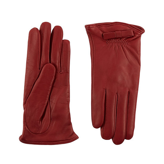 JERRY SAVED Red Leather & Cashmere Lining Gloves
