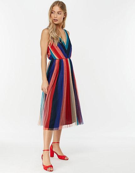 MONSOON Simone Stripe Pleated Dress