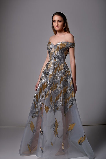 Edward Arsouni Off Shoulder Multi Sequined Gown