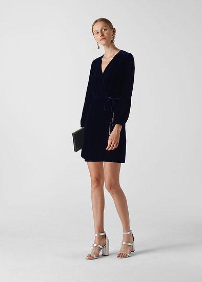 WHISTLES Silk Mix Velvet Dress