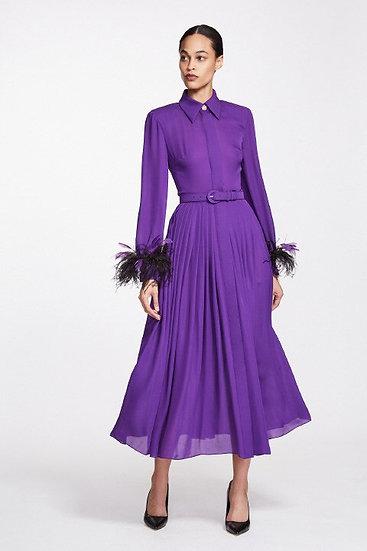 Elizabeth Kennedy Long Sleeves Pleated Chiffon Dress