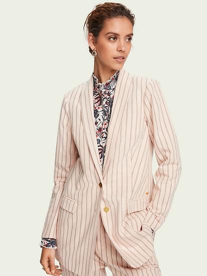 SCOTCH & SODA Women 100% cotton longer length striped blazer