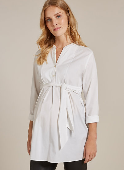 ISABELLA OLIVER Granville Maternity Shirt-Pure White