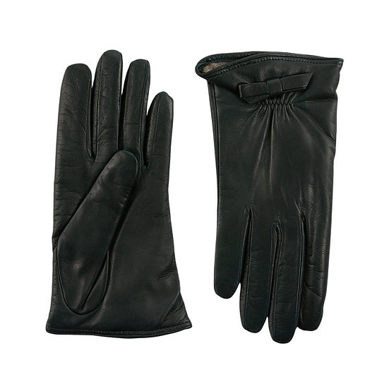 JERRY SAVED Dark Green  Leather  & Cashmere Lining Gloves