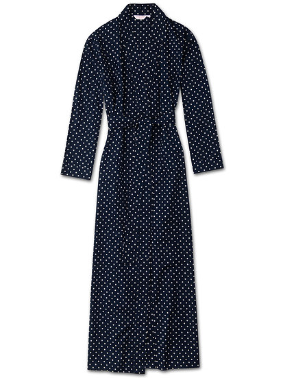 DEREK ROSE Women's Full Length Dressing Gown Plaza 60 Cotton Batiste Navy