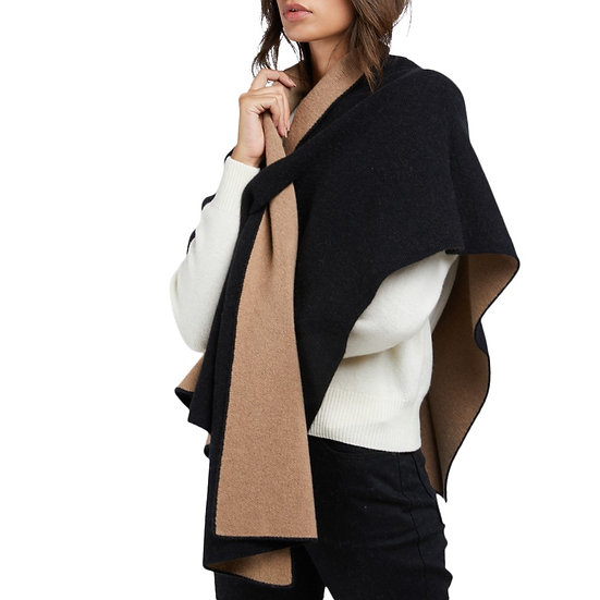 Curling Collection Black Cashmere Poncho