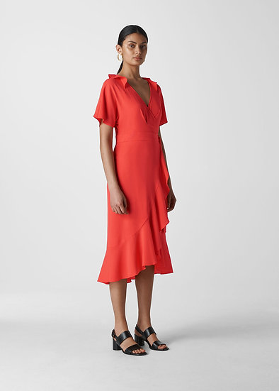 WHISTLES Red Wrap Dress