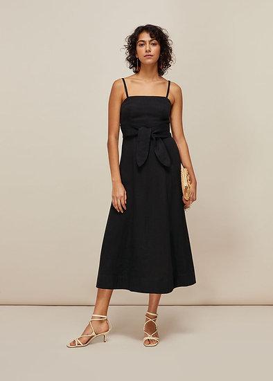 WHISTLES Black Linen Dress