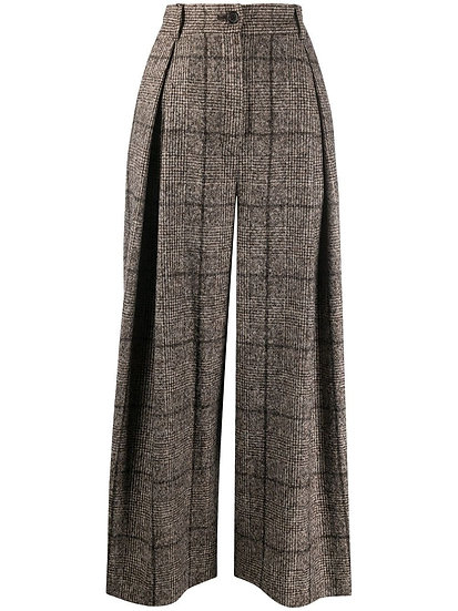 DOLCE & GABBANA Tweed Wide Legs Check Trousers