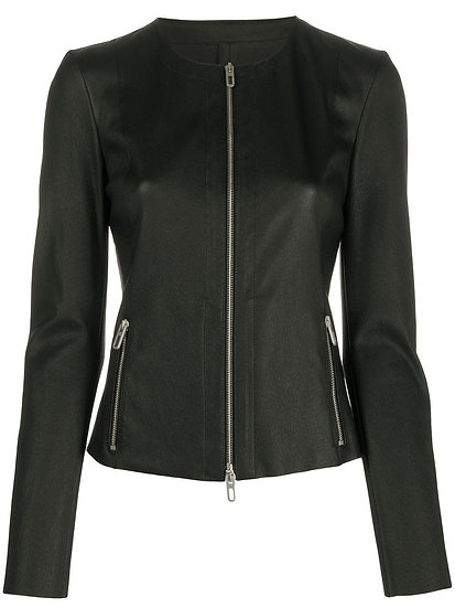 DROME Collarless Fitted Lambskin Jacket