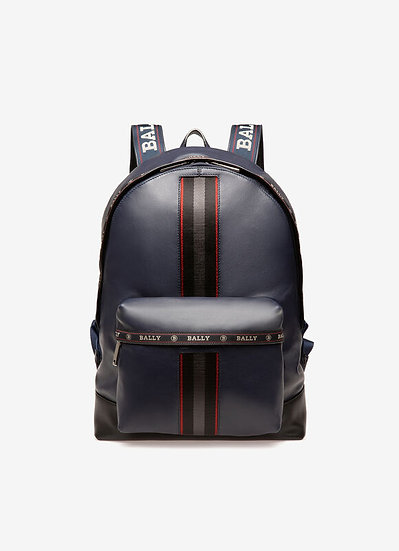 BALLY Harper Leather Navy Backpack