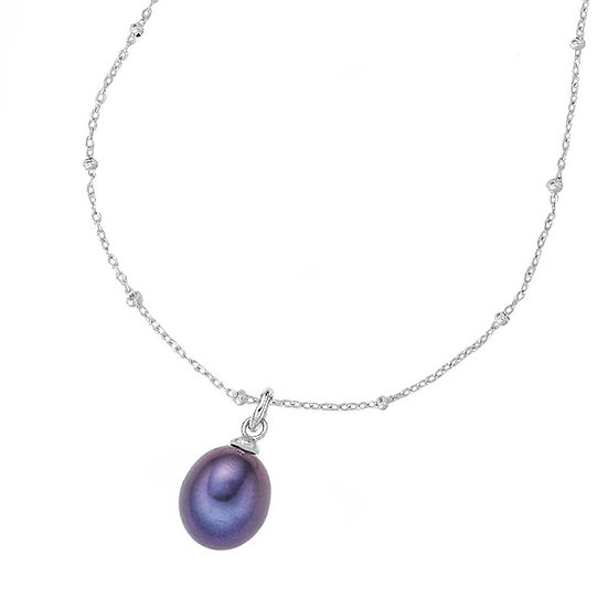 DOWER & HALL Chain & 8mm Oval Peacock Pearl Pendant
