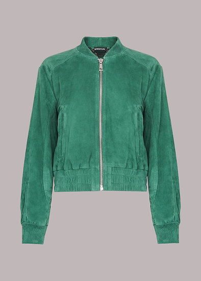 WHISTLES Green Cropped Suede Jacket