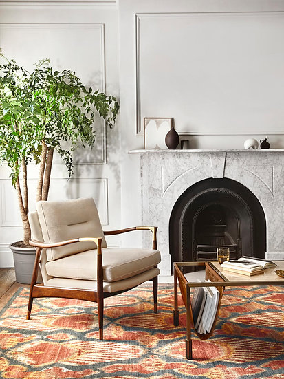 SOHO HOME Theodore Arm Chair, Natural Linen