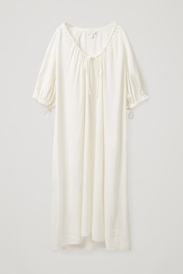 Cos White Dress With Drawstrings