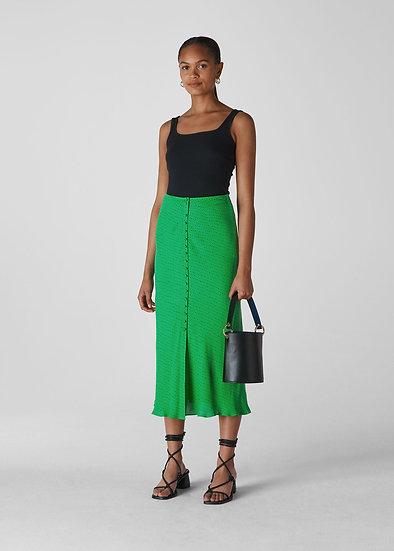 WHISTLES Green Midi Skirt