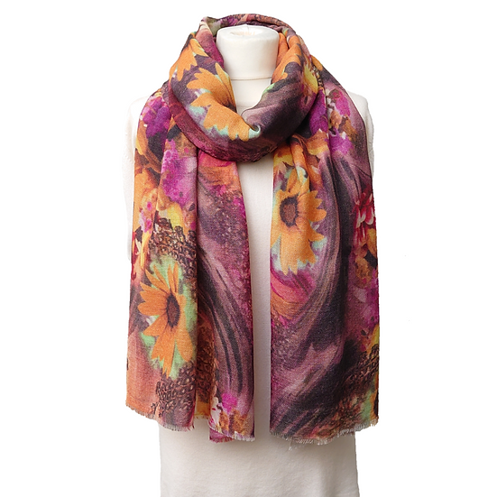 Ltd Edition Pure Pashmina - Yellow And Pink Flowers