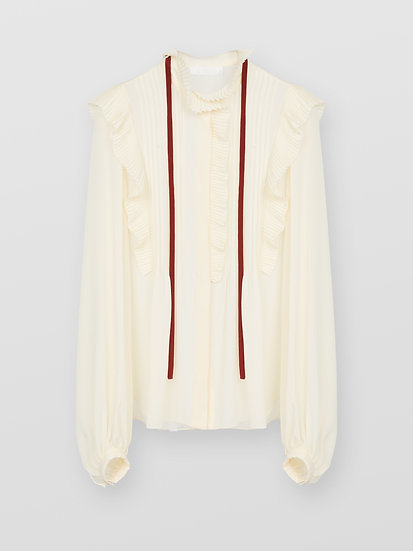 CHLOE Pleated Silk Blouse
