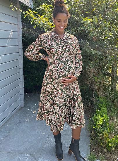 ISABELLA OLIVER Maryse Maternity Dress-Khaki Paisley Print
