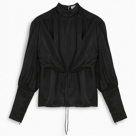 MATÉRIEL Black wrap around blouse