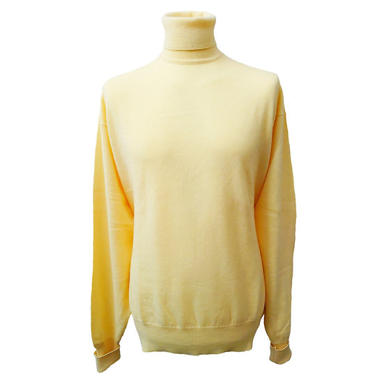 Men's Loose Fit Roll Neck Cashmere Jumper - Turnback Cuffs - Plae Yellow - XXL