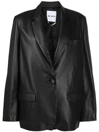 THE ATTICO Bianca Black Leather Jacket