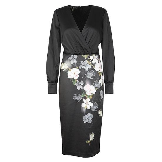 TED BAKER V Neckline & Floral Print Dress