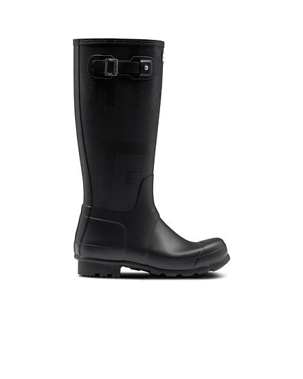 HUNTER UK ROW Men's Original Tall Exploded Logo Texture Wellington Boots