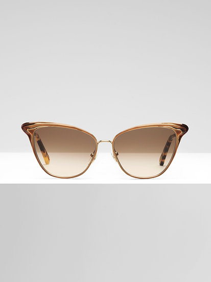 CHLOÉ Felicy Women Sunglasses Gold Metal & Brown