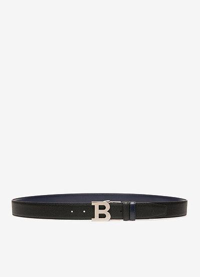 BALLY UK B Buckle Black Leather Belt