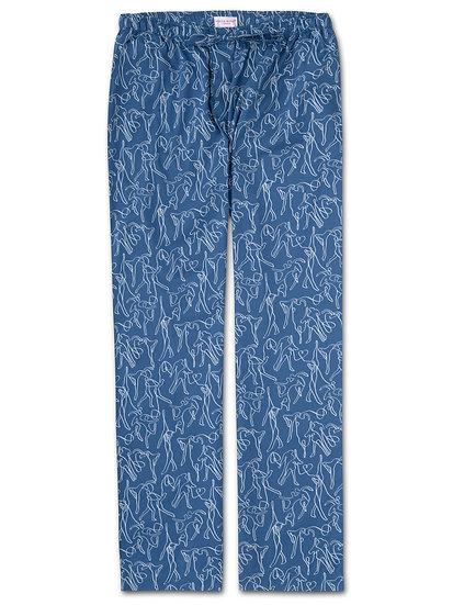 DEREK ROSE Men's Lounge Trousers Nelson 76 Cotton Batiste Blue