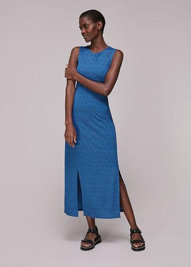 WHISTLES Blue Animal Print Dress