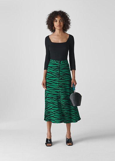 WHISTLES Green Tiger Print Skirt