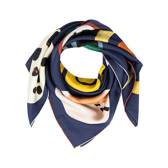 BARBIERI Twill Silk Navy Scarf