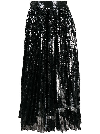 VALENTINO Pleated Black Jersey VLogo Skirt