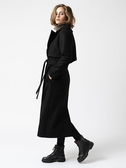 SAINT + SOFIA Black Wool Coat