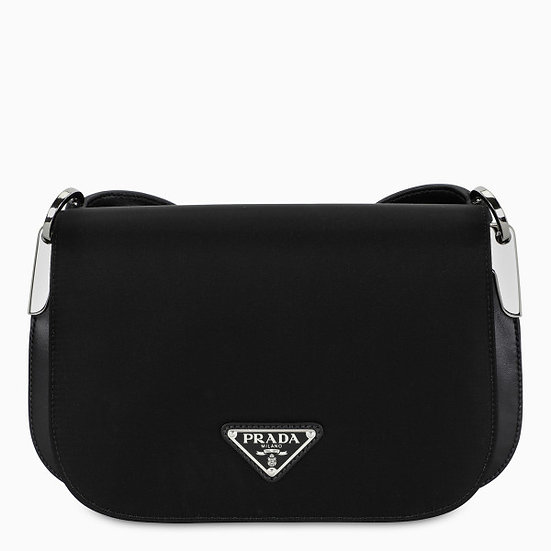 PRADA Black Nylon & Leather Shoulder Bag