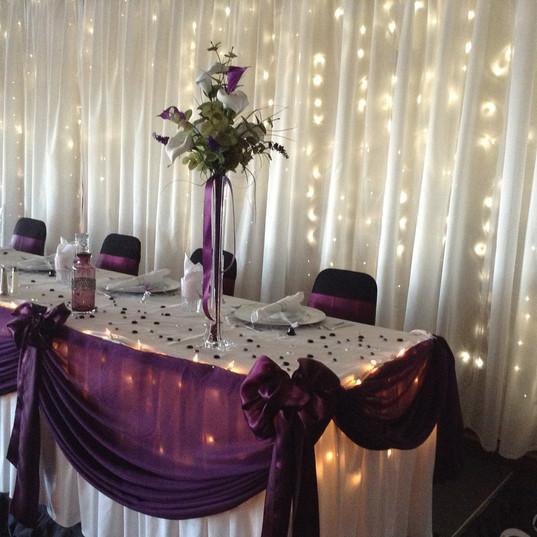 Ballroom Purple Head Table