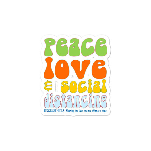 Bubble-free stickers - Peace, Love, and Social Distancing