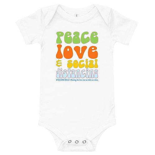 T-Shirt - Baby Onsie, Peace, Love, and Social Distancing