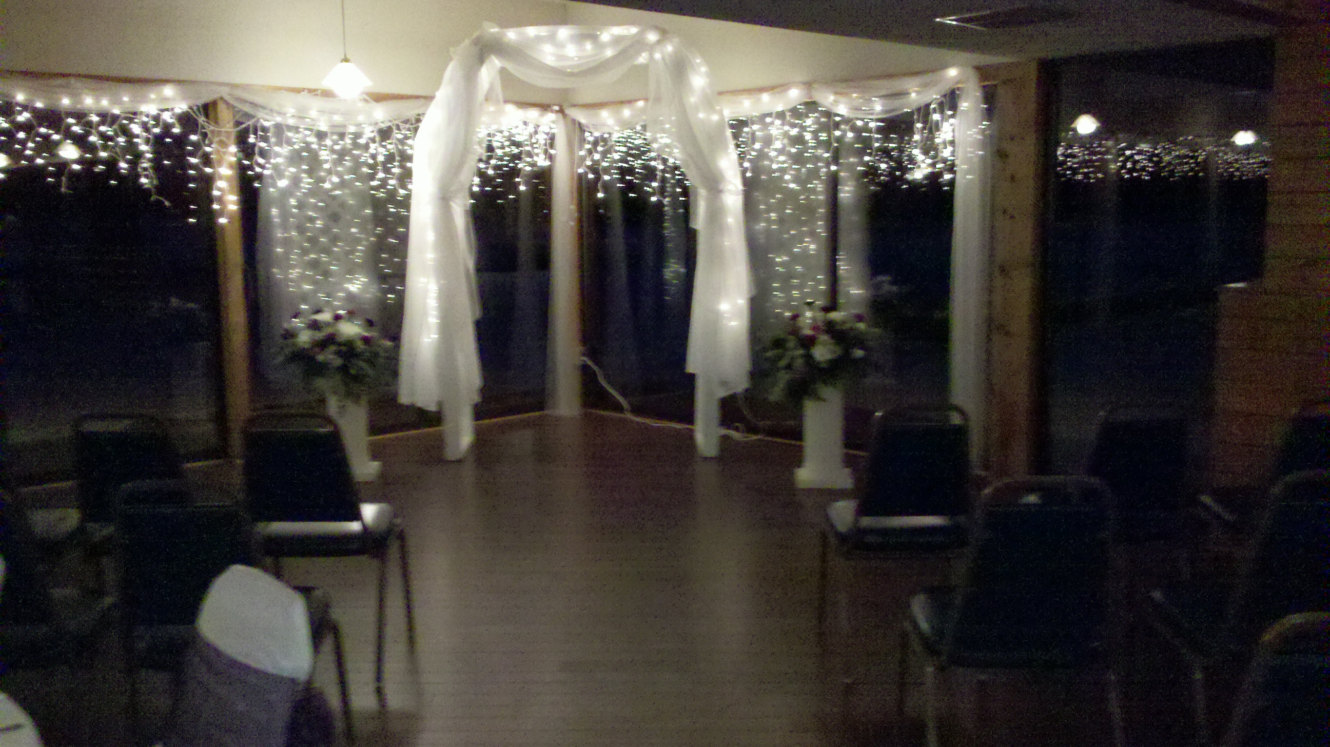 Decorated Lighted Arc in Room