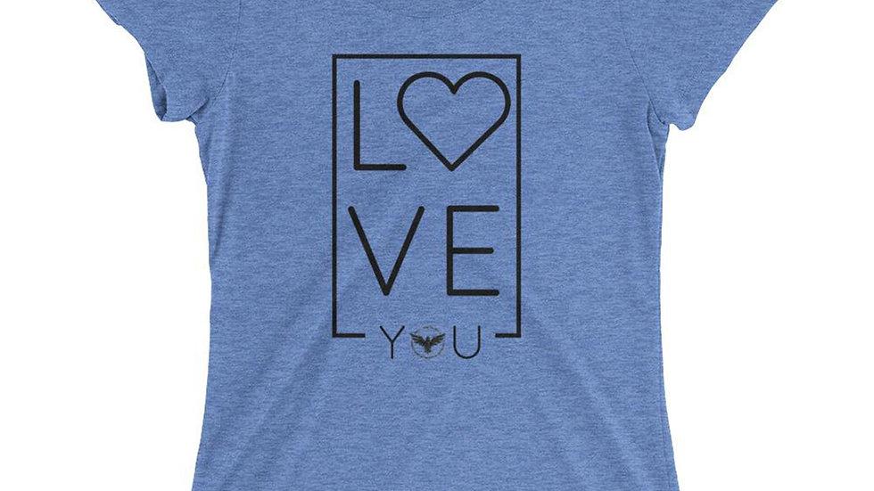 Women's LOVE Blue Crewneck Triblend Tee