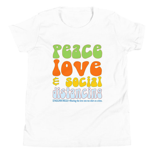 Youth Short Sleeve T-Shirt - Peace, Love, and Social Distancing