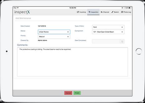 inspectX app - add maintenance item